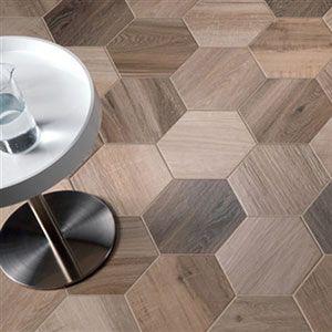 hexagonale parket tegels in de mix