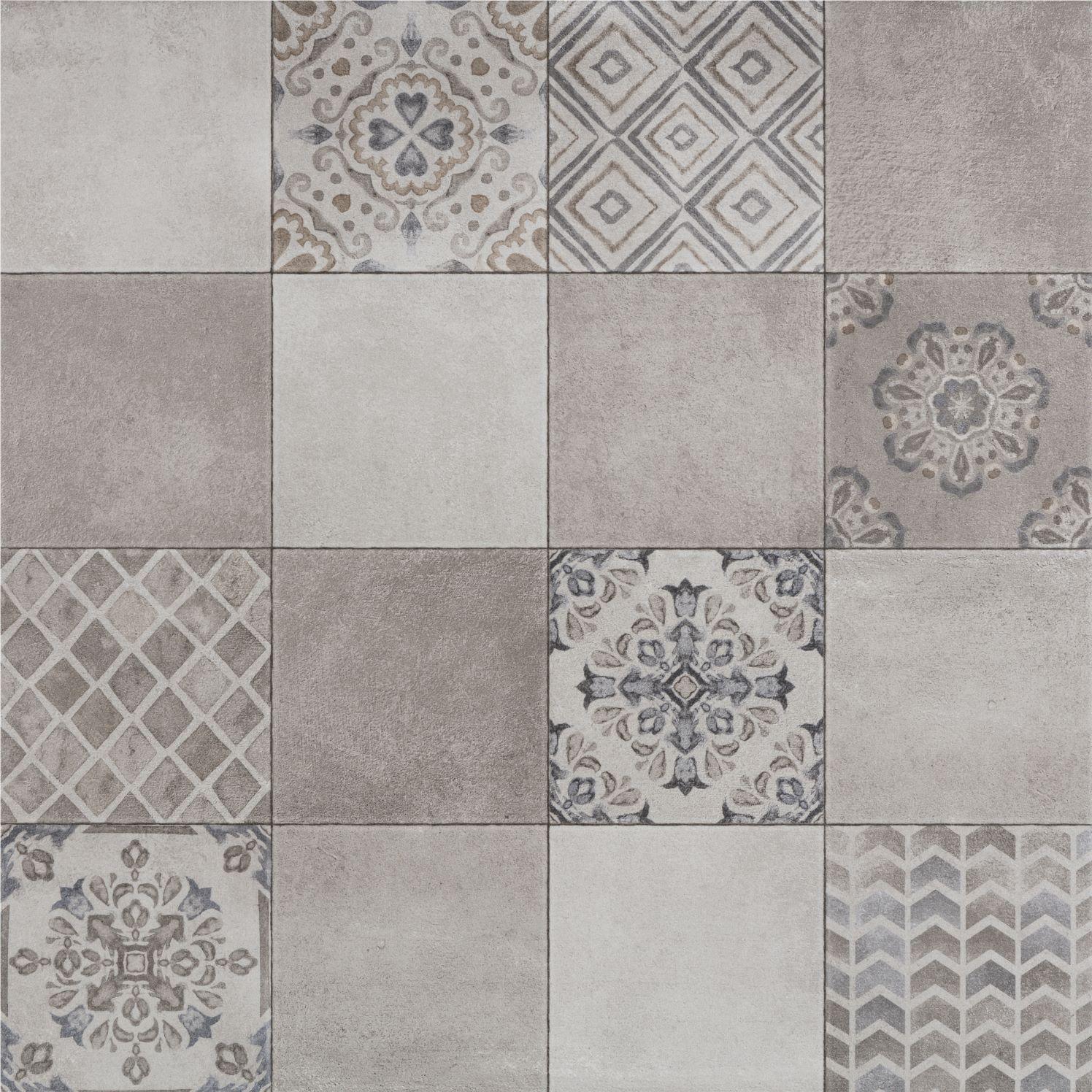 Azuliber decor clarence gris 65*65cm | patchwork tegel in grijs tinten.