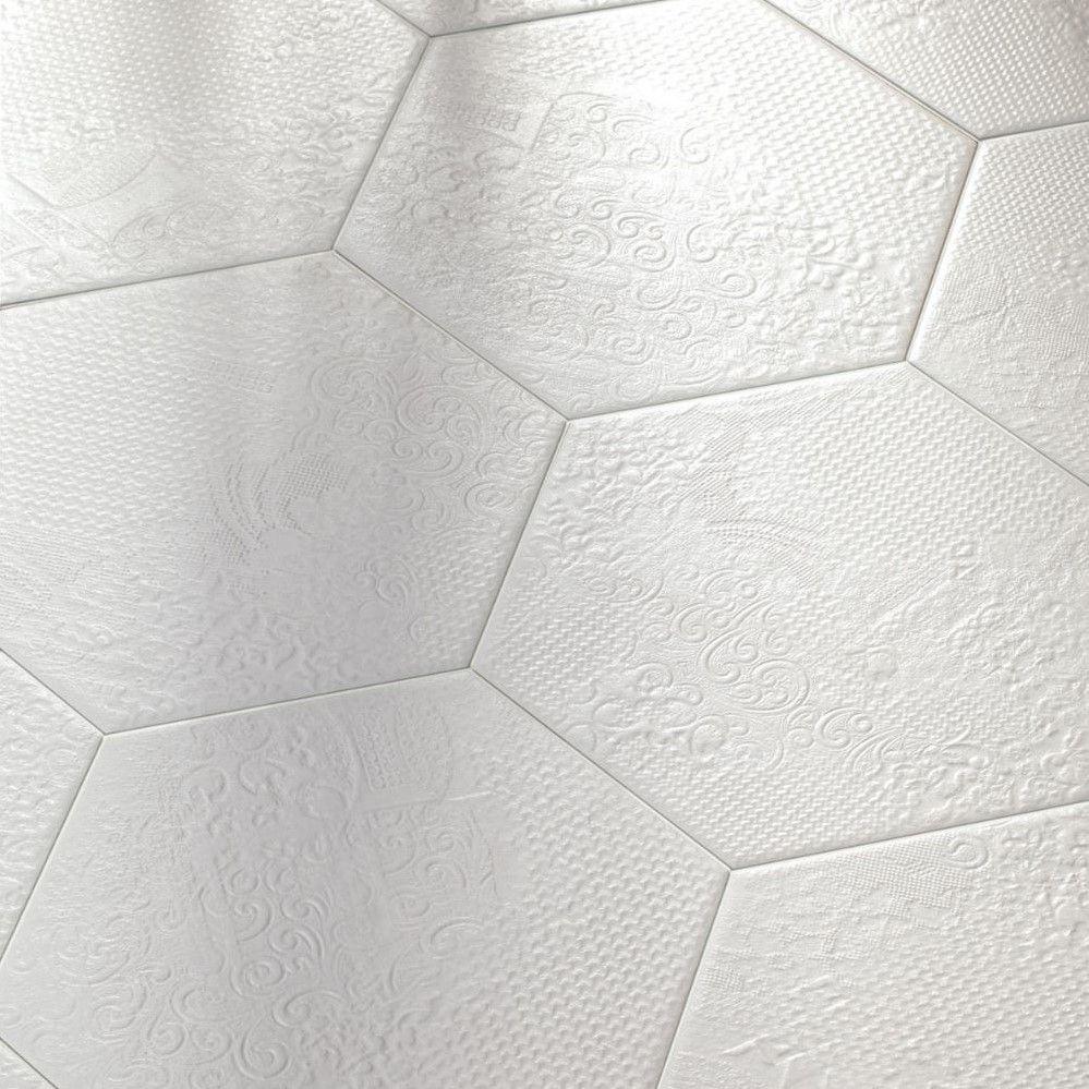 Codicer Milano | witte hexagonale relief tegels in de tegel outlet van Top Tegel 04 uit West vlaanderen.
