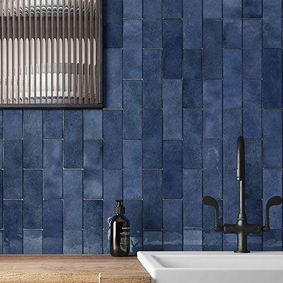 Keramiche wantegel artisan colonial blue glossy in formaat in formaat 6.5x20cm